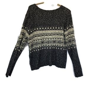 Garage Cozy scoop neck sweater charcoal striped